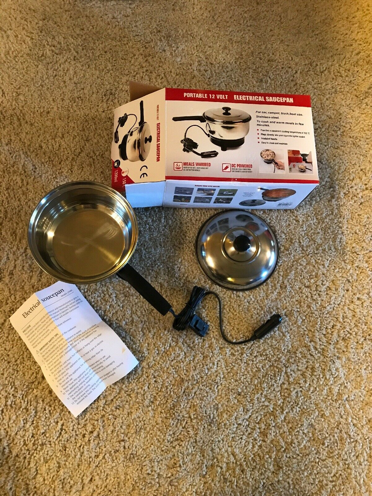 Portable 12 Volt Electric Saucepan Will Pug Into Car  Great For Camping