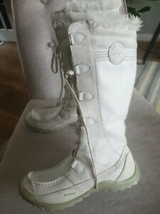 ladies-Caterpillar-Cream-Leather-Winter-Boots-Size-UK7