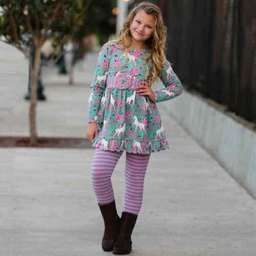 AnnLoren Girls Unicorns and Rainbows Dress Outfit