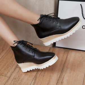 Womens-Square-Toe-Lace-Up-Wedge-High-Heels-Platform-Creepers-High-Top-Shoes-Sz