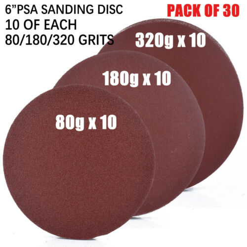 """Sanding Disc Sand papers Sandpapers Stick On 30x Set Kits 6/"""" Practical"""