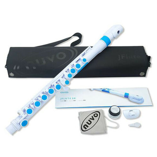 """White//Blue Nuvo jFlute 2.0 Student Plastic Flute w /""""Donut/"""" Curved Headjoint"""