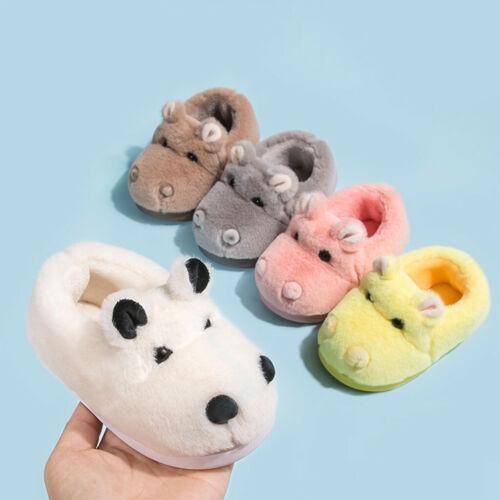 Children Kids Baby Girls Boys Cute Indoor Cartoon Flock Winter Warm Casual Shoes