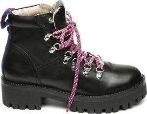 6b357fdacf2 Details about Steve Madden BOOMER Ladies Womens Leather Lace Up Hiker Ankle  Boots Black