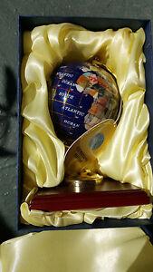 Replogle-Gemstone-World-Map-Desk-Decor-Compass-Jewel-Globe-13-Gold-Wooden-Base