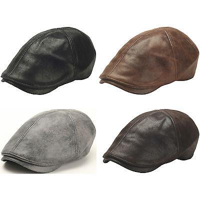 New Men Fashion Spangle Style Flux Leather Ivy Cap Ascot, Newsboy Beret Hat
