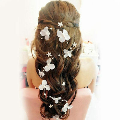 Bridal Flower Pearl Bendable Vine Hair Accessories Wired Beaded Headband Clip
