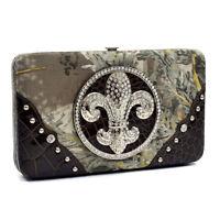 Realtree Women Camouflage Frame Wallet Crocodile Rhinestone Studded Fleur De Lis