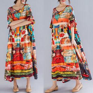 ZANZEA-Damen-O-Neck-Printed-Sommer-Kleid-Strandkleid-Langer-Lose-Freizeit-Kleid