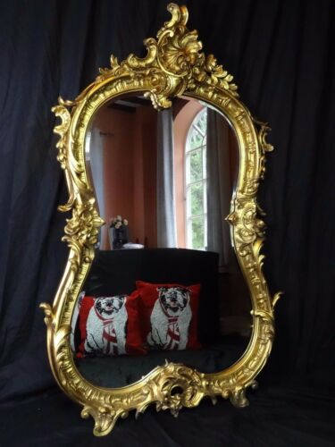 Large-Antique-Louis-XVI-French-Style-Bowed-Acanthus-Pier-Glass-Gilt-Wall-Mirror