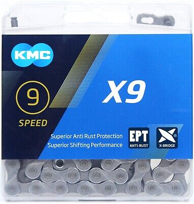 KMC X9 Silver EPT Eco Proteq 9 Speed Anti Rust Chain For Road /& MTB Cycling