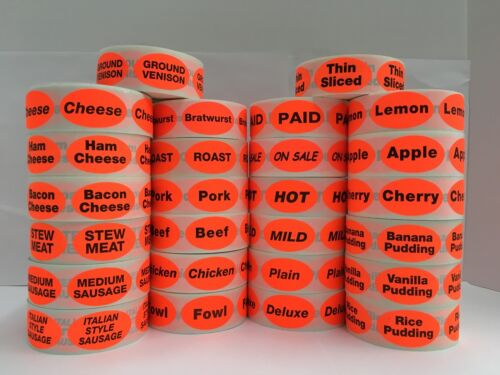 500 Oval Labels .875x1.25 Br//Red BBQ Food Packaging Retail Stickers