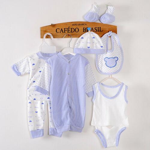8PCS Newborn Baby Boy Girl Tops+Hat+Pants Bib+Sock Shose+Romper Outfits Set US