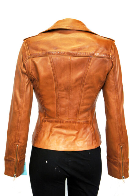 New Ladies Charliz Tan Stylish Fashion Designer Deluxe Soft Real Leather Jacket