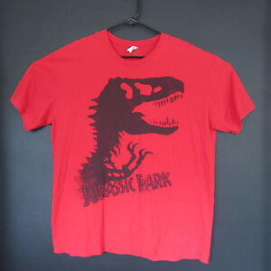 1ad74779 Mens Vintage Red Jurassic Park Tee Shirt XL T-Rex Skeleton Logo ...