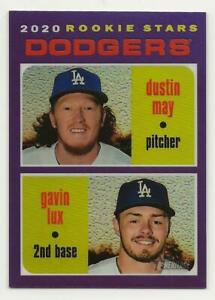 2020 Topps Heritage DUSTIN MAY/GAVIN LUX Hot Box Purple Refractor Dodgers Rookie