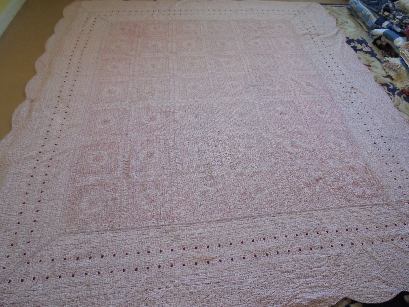 Nice Red & White Whole Cloth w Embroidered Dot Frame Quilt