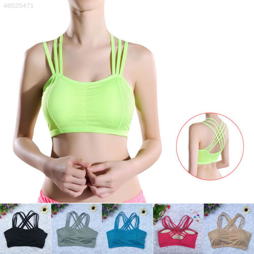 F5E0 Women Yoga Fitness Stretch Workout Tank Top Seamless Padded Sports Bra