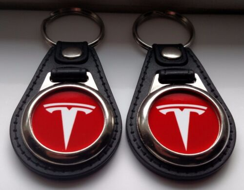 Tesla Motor Keychain 2 piece red