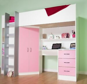 Cambridge Cabin Bed High Sleeper with Desk Drawer Wardrobe ...