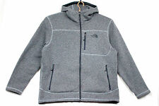 NORTH FACE Men's XL Gray Polyester Hooded Full Zip Sweater Jacket Fleece Lining