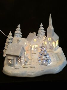 Beautiful-Christmas-Village-Town-Blue-White-Church-Toy-Store-Candy-Shop-Lighted