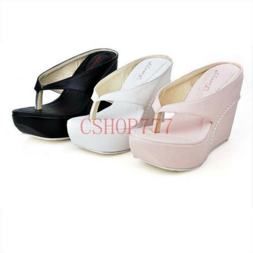 UK Ladies Flip Flops Beach Shoes wedge High Heels Sandals Casual Slippers Size 6