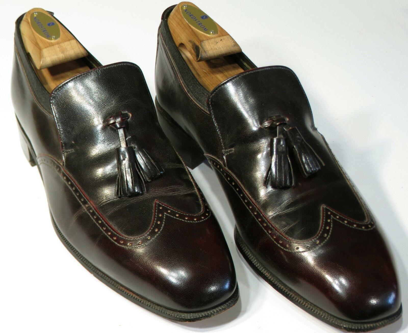 Rare Johnston Murphy Aristocraft Shoes 9C Dark Burgundy Wing Tassel Loafers