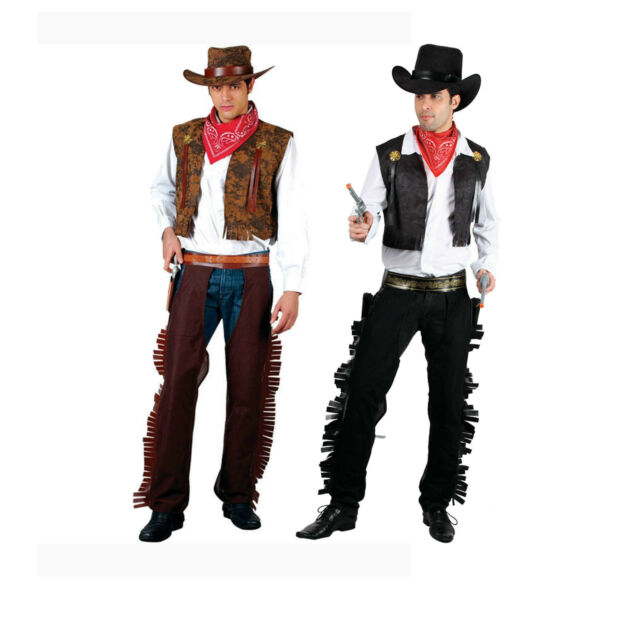 Mens Fancy Deluxe Dress Cowboy Black//Brown Waistcoat
