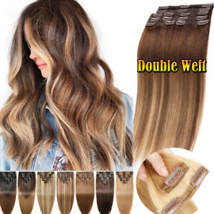 BALAYAGE-THICK-CLIP-IN-REMY-HUMAN-HAIR-EXTENSIONS-DOUBLE-WEFT-FULL-HEAD-OMBRE-US