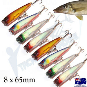 8x Fishing Lures Hardbody 65mm Whiting Popper Bream Flathead Poppers Topwater