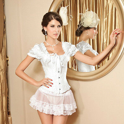 NEW Sexy Beige Full Steel Bones Lace Up Corset  Top Bustier with Thong