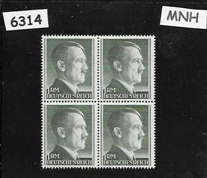 MNH Hitler Third Reich stamp block / 1RM / 1942-1944 / WWII Germany / Sc524