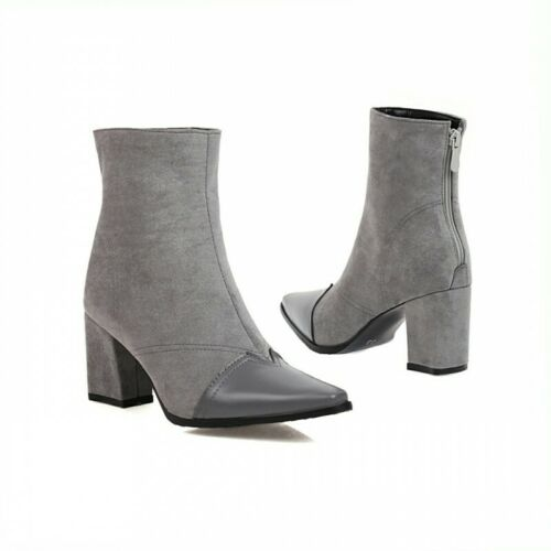 Details about  /4 Colors Ladies OL Square Toe Block Chunky Heel Ankle Boots Winter Warm Shoes D