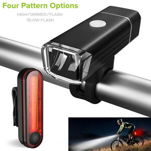Bicicletta-Luci-USB-LED-Ricaricabile-Set-Mountain-Cycle-Front-Retro-Faro-IPX4