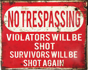 No-Trespassing-Shot-Warning-VINTAGE-ENAMEL-STYLE-METAL-TIN-SIGN-WALL-PLAQUE