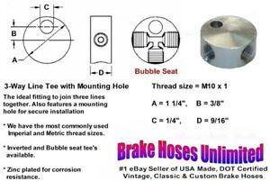 FEMALE-BRAKE-LINE-TEE-M10-x-1-Bubble-Seat-with-Mounting-Hole