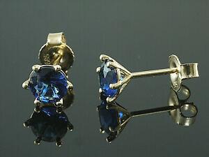 585-Gold-Ohrstecker-mit-6-Krappen-1-Paar-6-mm-Groesse-mit-echten-Saphiren