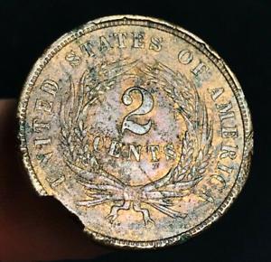 1866-US-Two-Cent-Piece-2C-High-Grade-Details-Civil-War-Era-US-Copper-Coin-CC3154
