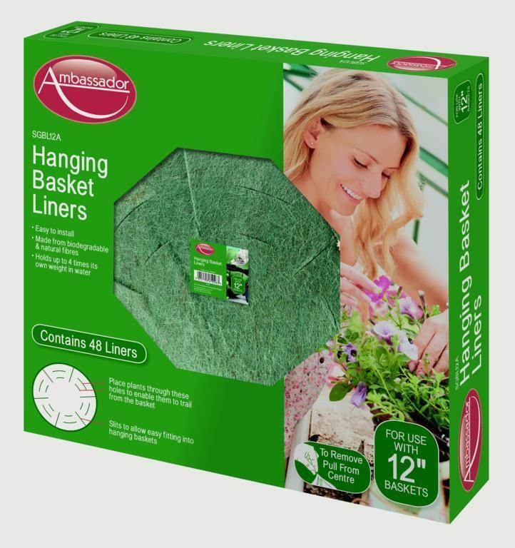 48x embajador Colgante Cesta Biodegradable & los trazadores de líneas fibras naturales - 30cm 12