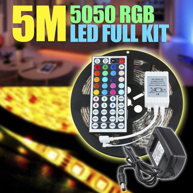 5M RGB 5050 Waterproof RGB LED Strip light SMD 44 Key Remote 12V Power Full  TDC