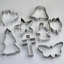 Religiosas formas Set De 8 Metal Cortadores De Galletas De Cruz Angel Estrella Bell Galleta