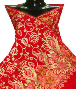 Crewel-embroidered-shawl-wrap-dark-red-wool-stole-pashmina-kashmir-039-s-embroidery
