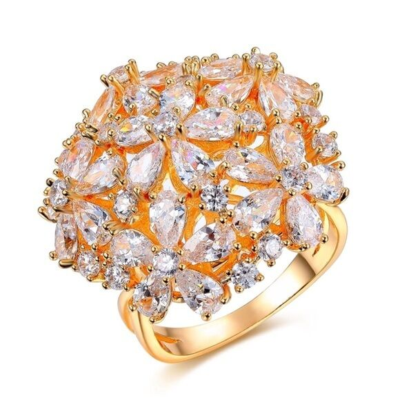 S9 Made Using Swarovski Crystals Large gold Flower Dome Statement Ring  110