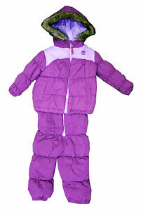 fc1de158a62f NWT GIRLS TIMBERLAND 2 pc SNOWSUIT Faux FUR Hood JACKET JUMPER PANTS ...