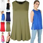 New Womens Ladies Casual Side Split Baggy Jersey Swing Tank Vest Tee T Shirt Top