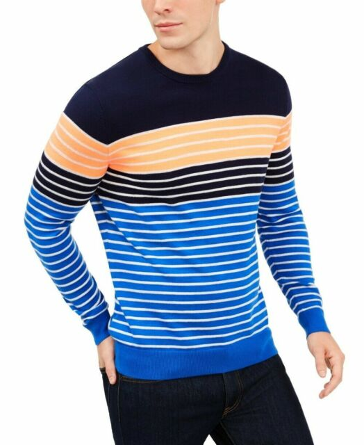 Club Room Mens Sweater Blue Size Medium M Crewneck Stripe Colorblock $55 #112