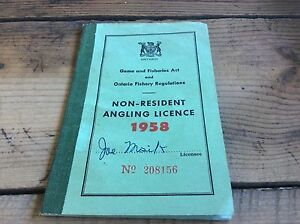 Vintage ontario game and fisheries non resident angling for Where to buy fishing license colorado