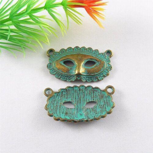 Retro Bronze Patina Legierung Totem Maske Form Charme Anhänger Schmuck 20 Stück