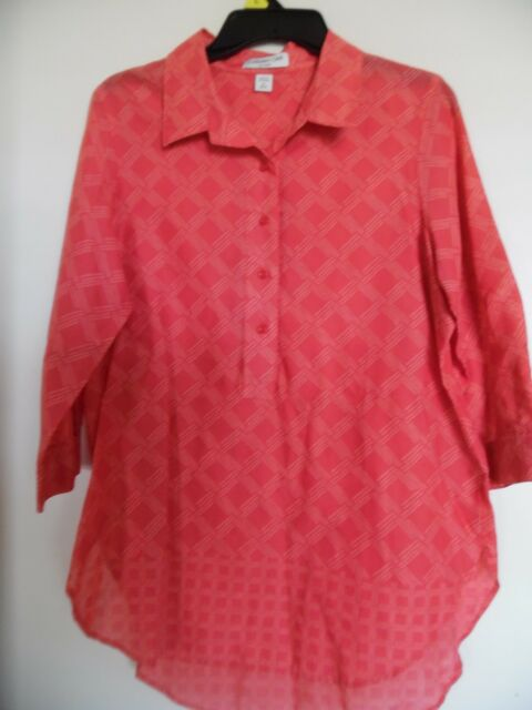 Coldwater Creek, Coral Plaid  Boho Top  Shirt Tunic, size M